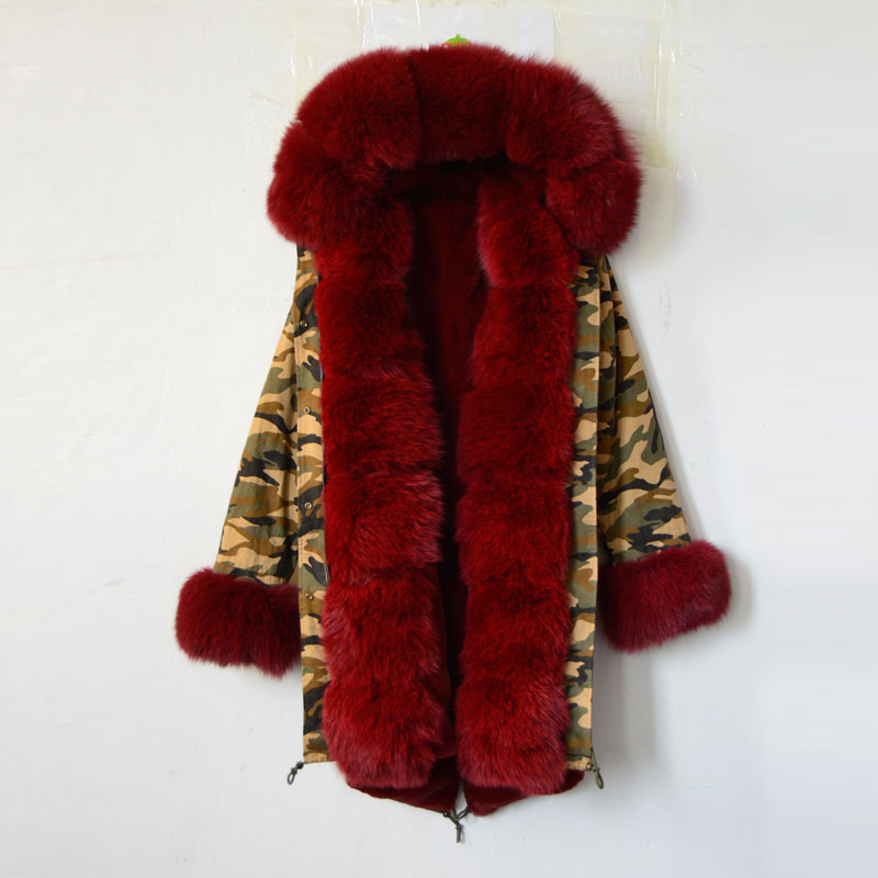 Camouglage Pakra Winred Real Fox/Rabbit/Faux Fur Cuffs,Fur Hood Down Oversized Fur Trim Parka,Real Fur Russia Parka