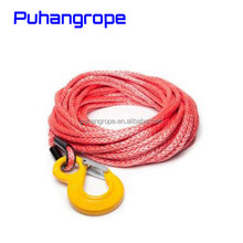 Puhang winch rope 12 strand 1/4''*50' grey synthetic winch line with hook for ATV
