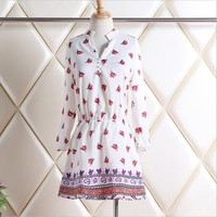 Wholesale Young Girls Fancy Tops Ladies Chiffon Blouse With Flower Printing
