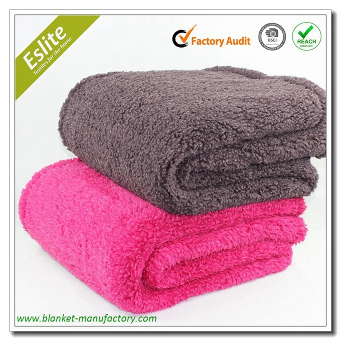 100 Polyester Thick Knit Sherpa Fleece Thick Blanket