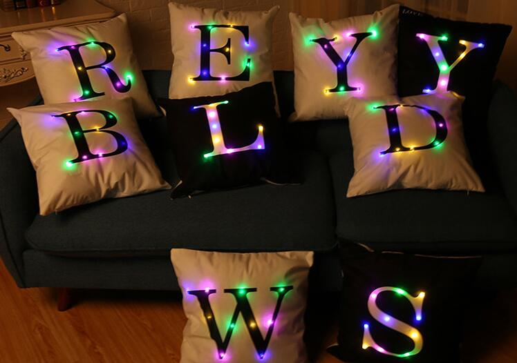 2018 Gifts Sofa Decoration Merry Christmas LED Pillow,Multi-colors LED Light Pillowslip For Party Festival Wedding