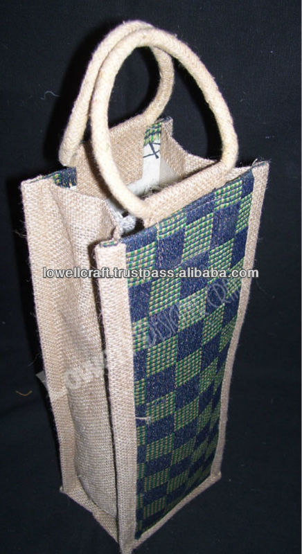 jute with handloom wine bottle bag