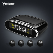 Yoelbaer Car Tire Pressure Monitoring System Solar Wireless TPMS with LCD Color display / 4 External Sensors