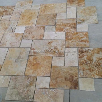 Beige travertine tile of acidwashed