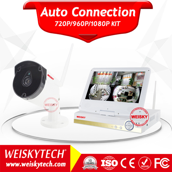 Weisky Hot CCTV 1.0/ 1.3MP 4CH Wifi IP camera NVR Kit 10.1 Inch LCD Monitor CCTV Wireless Surcelliance Kit