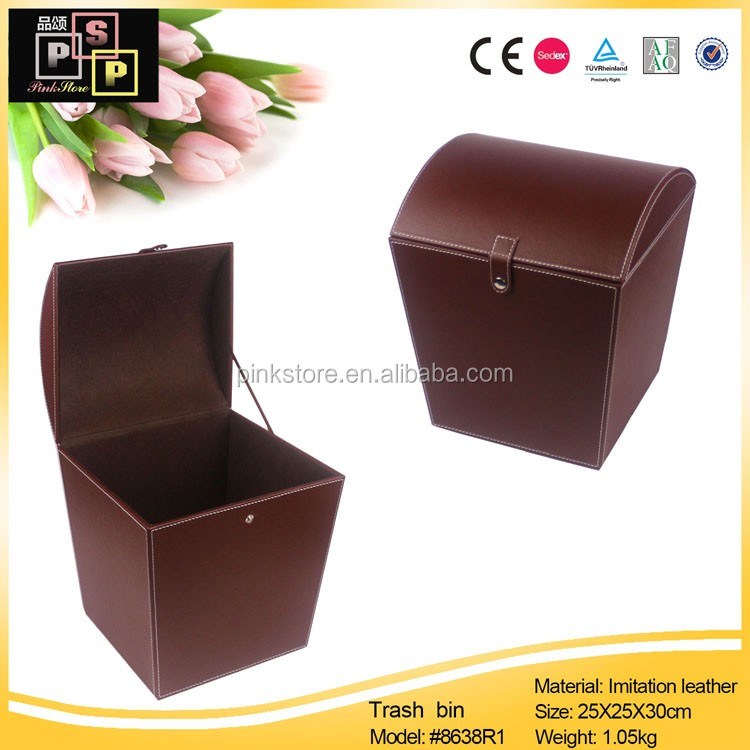 2017 new products Factory Direct PU Leather hamper baskets gift