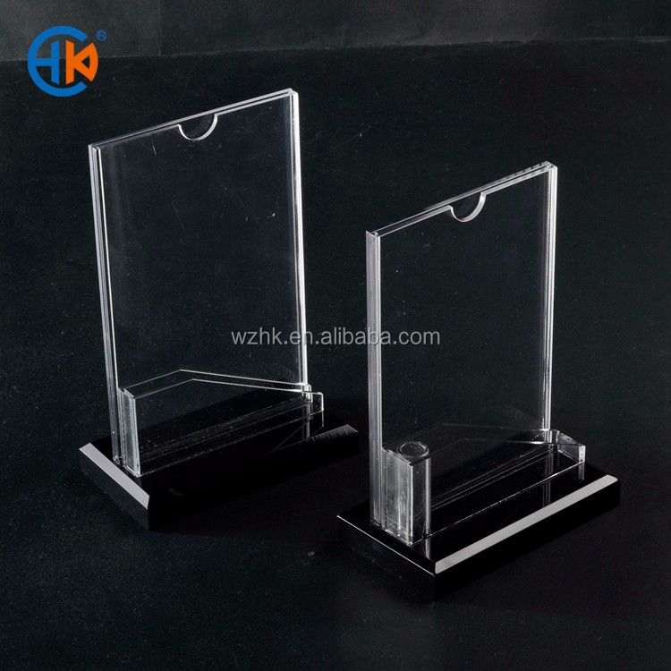 tabletop menu display stand clear lucite desktop stand 1/6 A4 acrylic sign holder