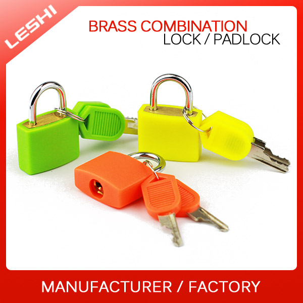 Made In China New Travel Luggage Plastic Cover Mini Brass Padlock with Key