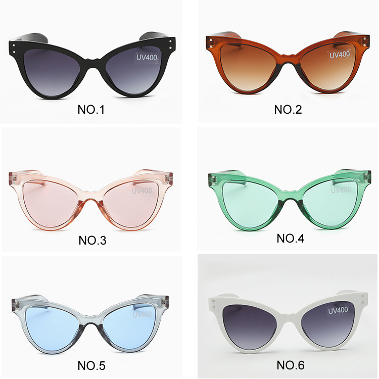 Cheap Wholesale Candy Color Ladies Cat Eye Sunglasses Nail Decoration Tinted Sun Glasses Uv 400