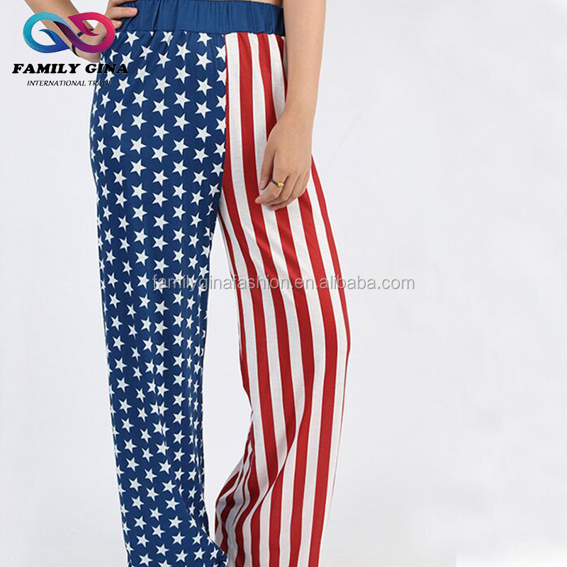 Women Polyester American Flag Pajama Trousers