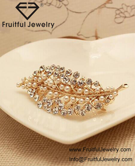 2017 New Style rhinestone leaves hair clip pearl hair accessories wholesale hair pins wedding jewelry