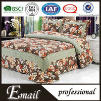 big flower plain dyed pattern and cotton material fitted bed skirts