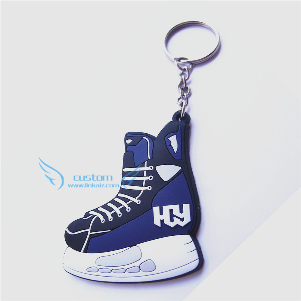 russia custom pvc rubber ice skate keychain shoes key chain