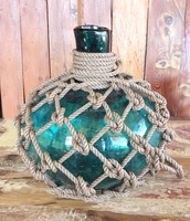 Beach Decor Big Aqua Glass Pirates Rum Jug in Rope Netting