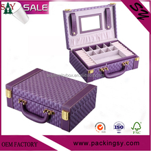 Wholesale high quality Portable woven leather gift box ornament fsd jewelry box with mirror