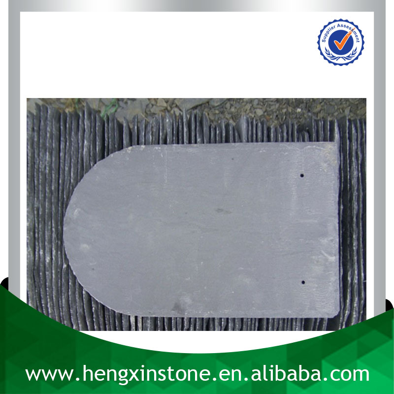 China Factory Direct Sales Cheap 40*20*0.5cm Handmade Eco-friendly Natural Rectangle Black Round Slate Roofing