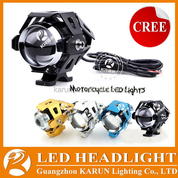 Hot-selling 3000LM 15W Led Motorcycle Spot Light,12v police lights led motorcycle with flashing, high & low beam function