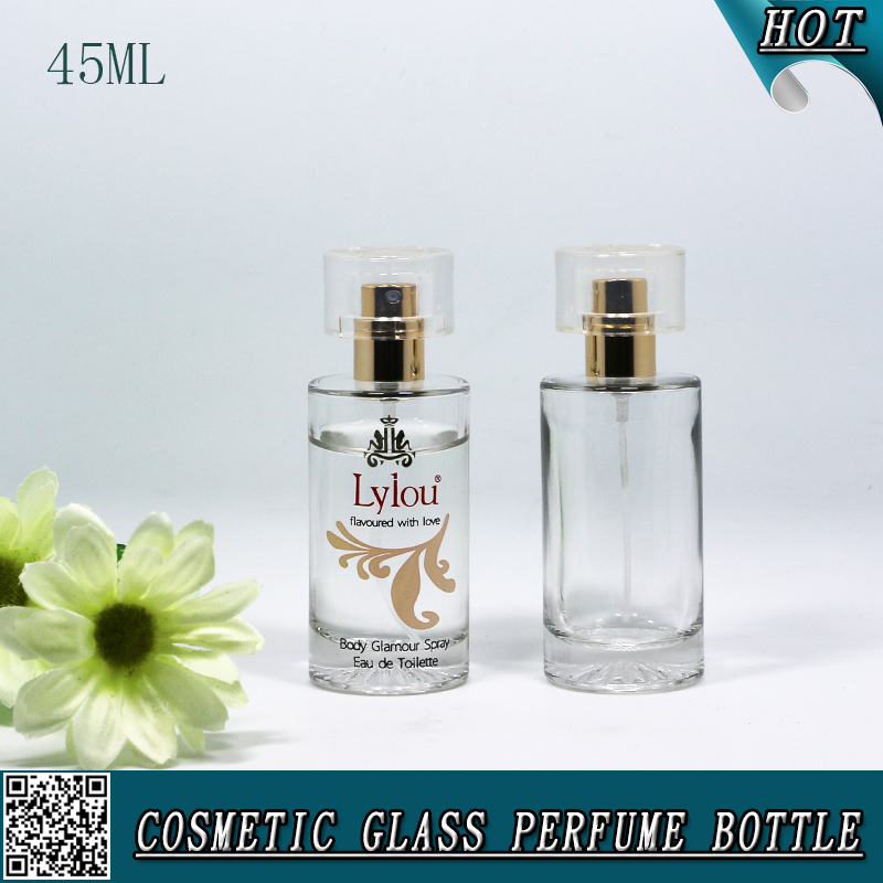45ML Cylinder Cosmetic Glass Spray Perfume Bottle