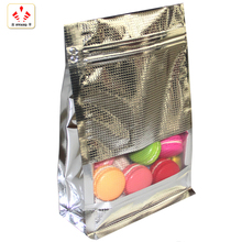 Customized size Ambossing front window Flat Bottom Aluminum Foil zipLock Bag For food