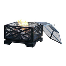 Square Outdoor Patio Metal Firepit/Garden Treasures Fire Pits