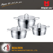 Stainless steel cookware 16/20/24cm belly shape cookware set,6pcs cookware sets
