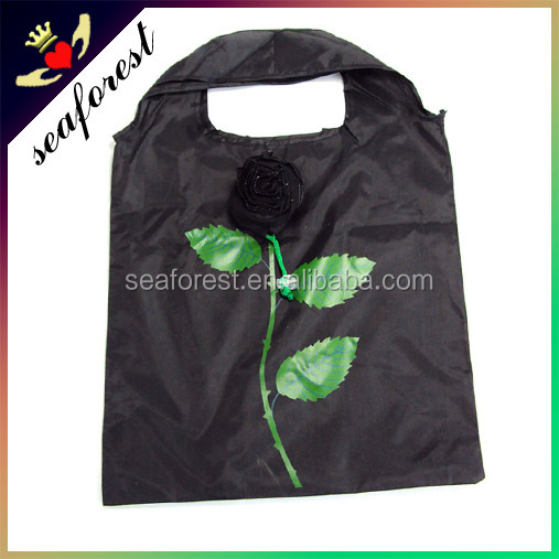 cheap wholesale black rose foldable eco shopping bag
