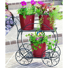 Two Tiered Garden Cart with flower pot