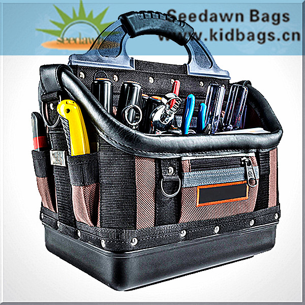 Basket Style Hand Carry Plastic Handle Electrician's Tool Bag with Rigid Bottom Hook Shoulder Sling