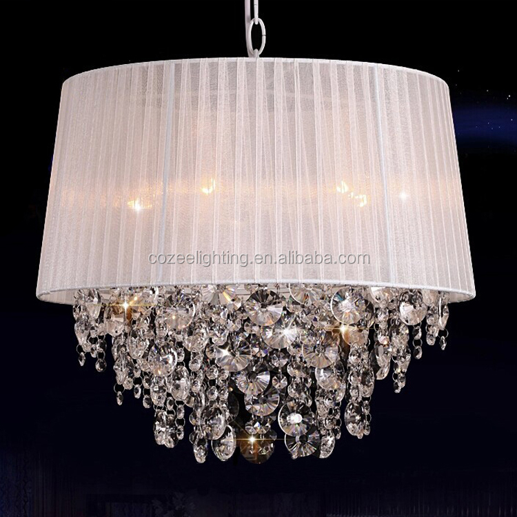 Crystal Chandelier With Fabric Shade Led Lamp Pendant Lighting Crystal Lamp Crystal Lighting Modern Wedding Lighting CZ1048/4W