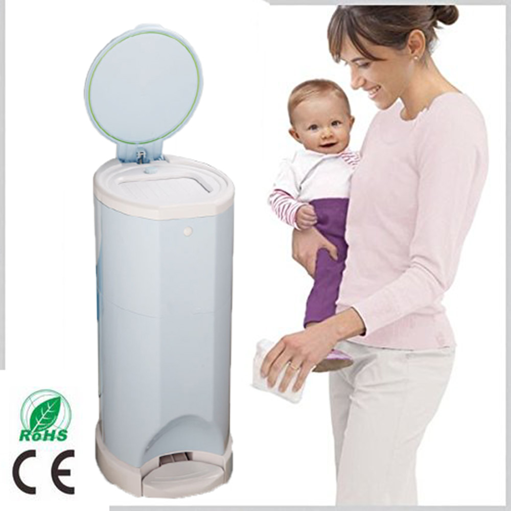 Model Design Hands-free Operation Used Baby Diaper Blue Pail with Odor Door