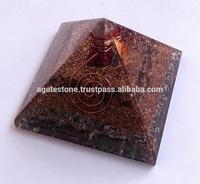 Amazing Tiger Eye Orgonite Positive Energy Layer Copper Pyramid With Crystal Point