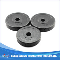 Black Cement filled plastic barbell weight plates