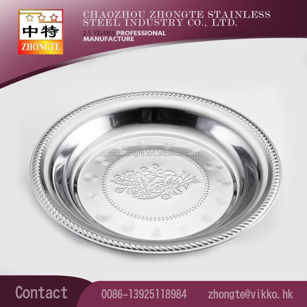 Hot sale stainless steel Thailand style stamping flower round serving tray