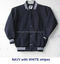 Childrens unisex custom made 65% polyester 35% plain cotton fleece navy with white stripes school bomber jacket