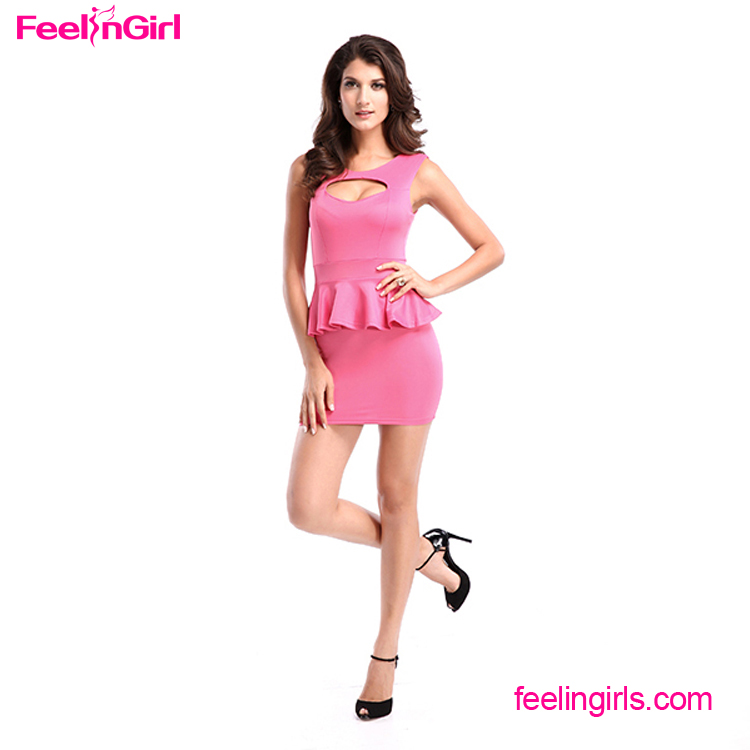 Cheap Price Pink Hollow Sleeveless Ladies Designer Office Peplum Dress