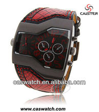 China supplier OEM double quartz movment watch mans dual time zone watch