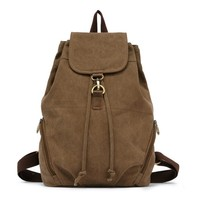 Fashion vintage drawstring canvas backpack bag manufactures china