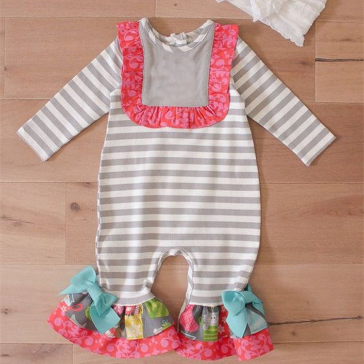 Hot selling cotton knit boutique suit long ruffle baby girls grey stripe senta cute baby winter romper