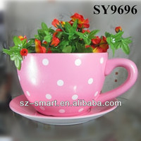 With saucer ceramic pot colorful tea cup flower pot