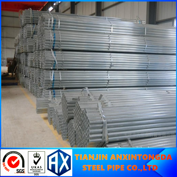q235 british standard hot dipped galvanized pipe in Tianjin factory galvanized steel tube size