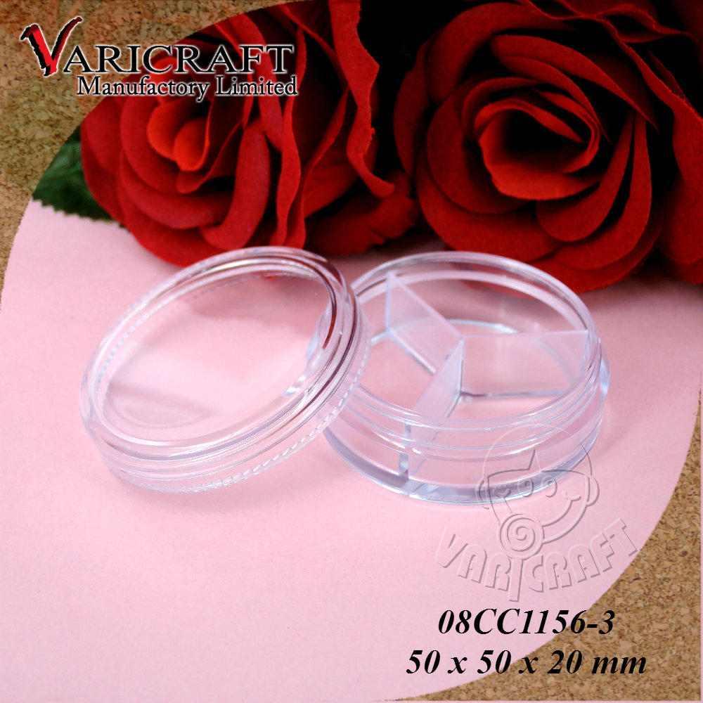 50mm Clear plastic case in round shaped with lid and 3 compartments cosmetic packaging container