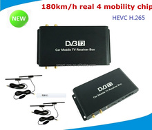 car dvb t2 digital tv receiver H.265 4 antennas 4 chipset inside with h.256 decorder speed :180km/h