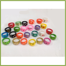 GF212 Assorted Acrylic Child Size Acrylic Psychedelic Hippie Rings Bulk Wholesale Kids Play Jewelry Wild Acrylic Rings