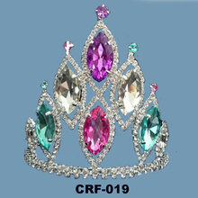 Six Big Colorful Rhinestone 4 inch Small Crown