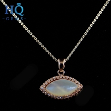 Mexico alloy necklace Brass Setting cubic zirconia stone with shell jewelry