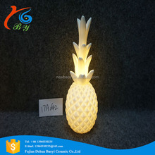 Artifical White Ceramic Pineapple for home decoration with candle led light