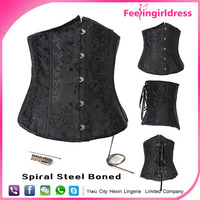 Cheap Hot Sale New Arrival Black Steel Boned Tights Lacing Corset