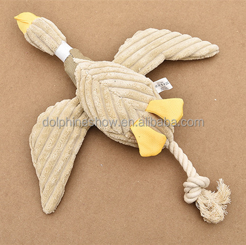 New pet toy product durable cute stuffed plush duck design squeaky chew rope sex dog toy girl