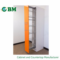European Style Pull Out Flat Panel Door Thermofoil PVC Pantry Cabinet