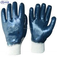 RUNLEI SAFETY Full Coated Nitrile Dipped Interlock Liner Waterproof Glove with Safety Cuff